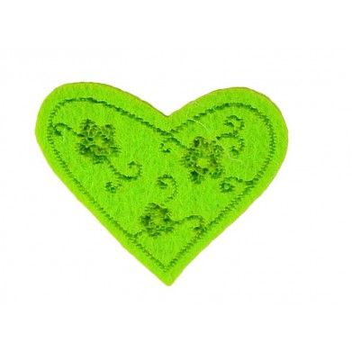 Aplique corazón verde 3 cm x 4 cm