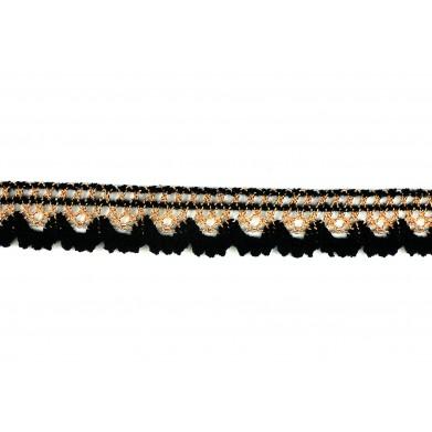 Puntilla hilo negro dorado 2 cm