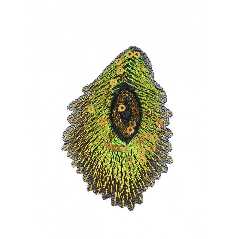 Aplique pluma pavo 7,5 cm x 5 cm