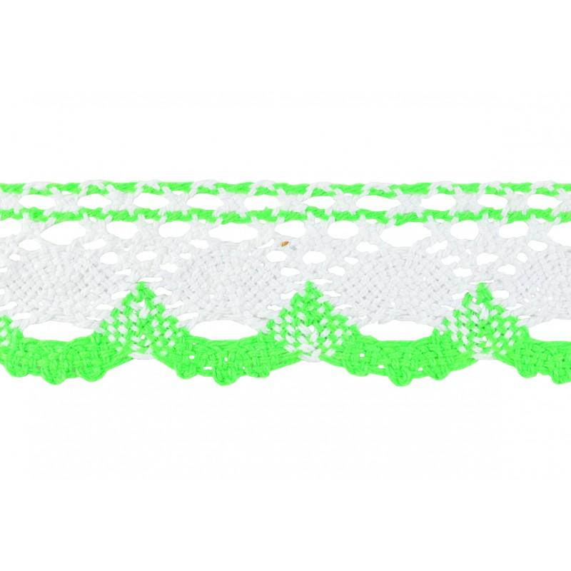 Puntilla hilo verde/blanca 4 cm