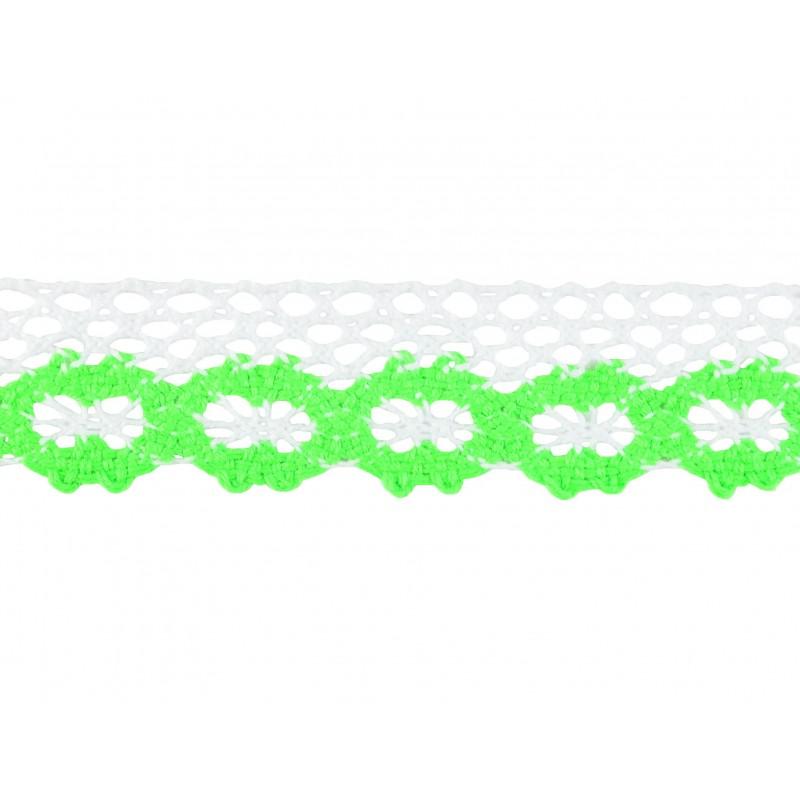 Puntilla hilo verde/blanca 2,5 cm