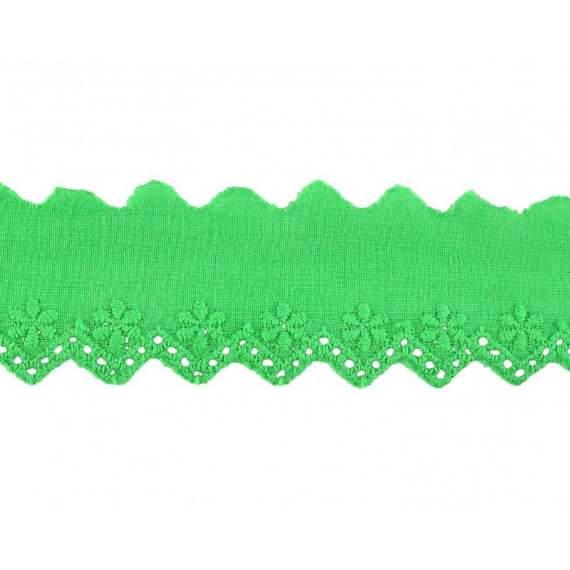 Tira bordada verde 3,5 cm