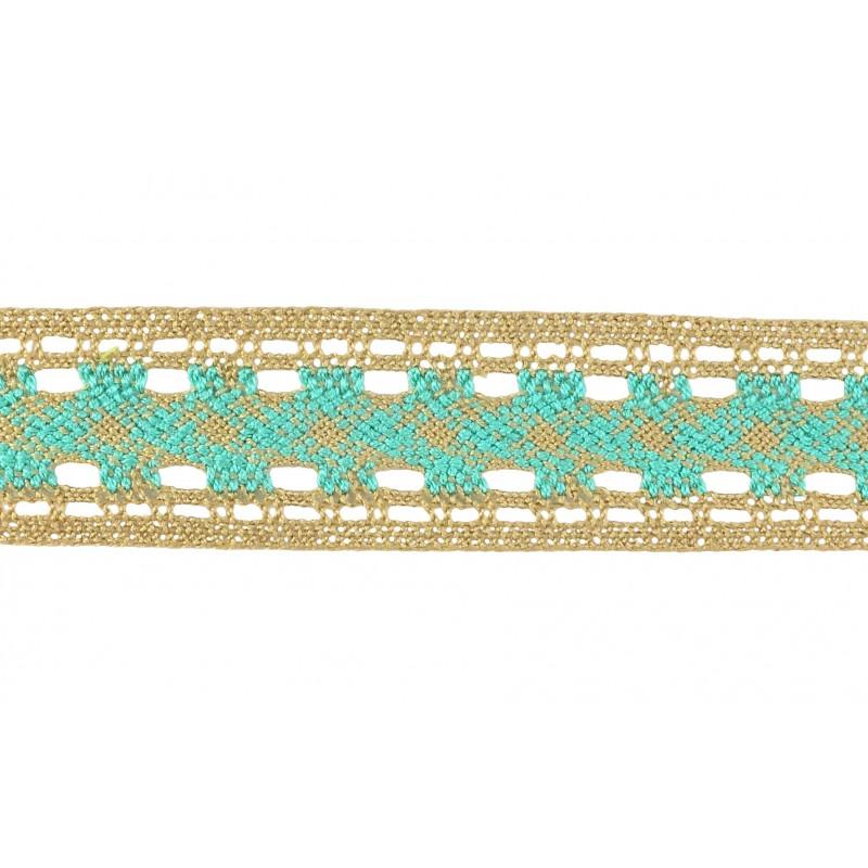 Puntilla hilo verde/marrón 3,5 cm