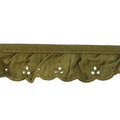Tira bordada verde 2 cm