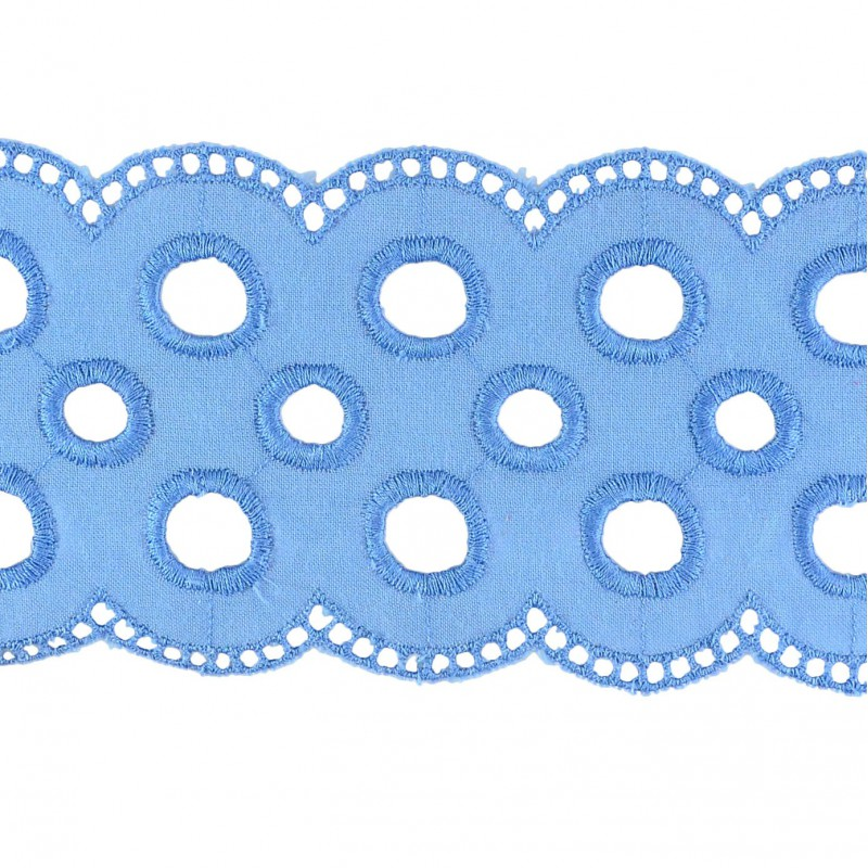 Tira bordada azul 7 cm