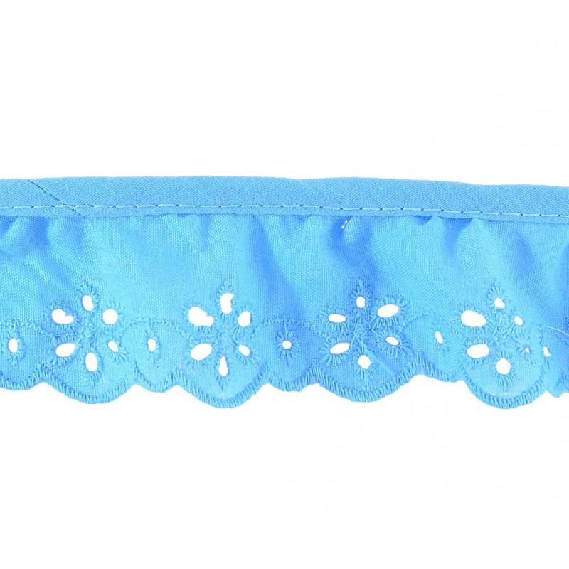 Tira bordada azul 3,5 cm
