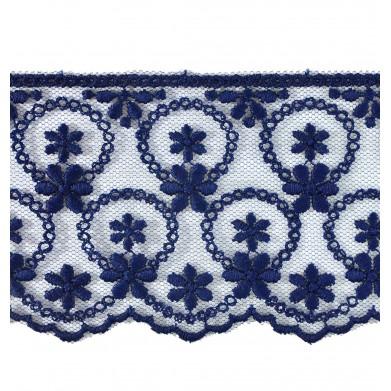 Tul bordado azul 6 cm