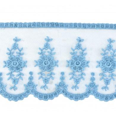 Tul bordado azul azafata 6 cm