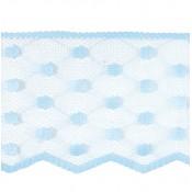 Puntilla nylon azul celeste lunares ancho 8 cm