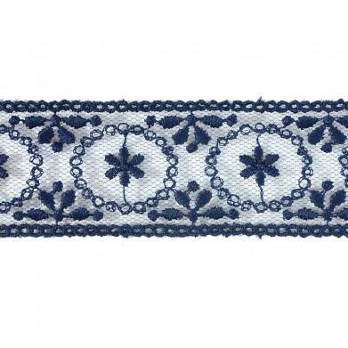 Tul bordado azul 3 cm