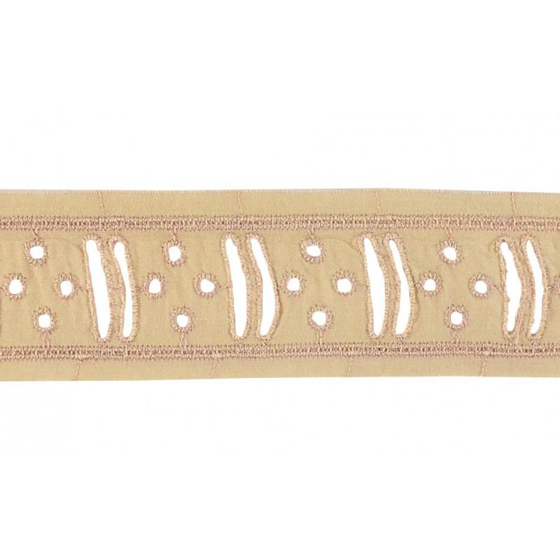 Tira bordada marrón 4 cm