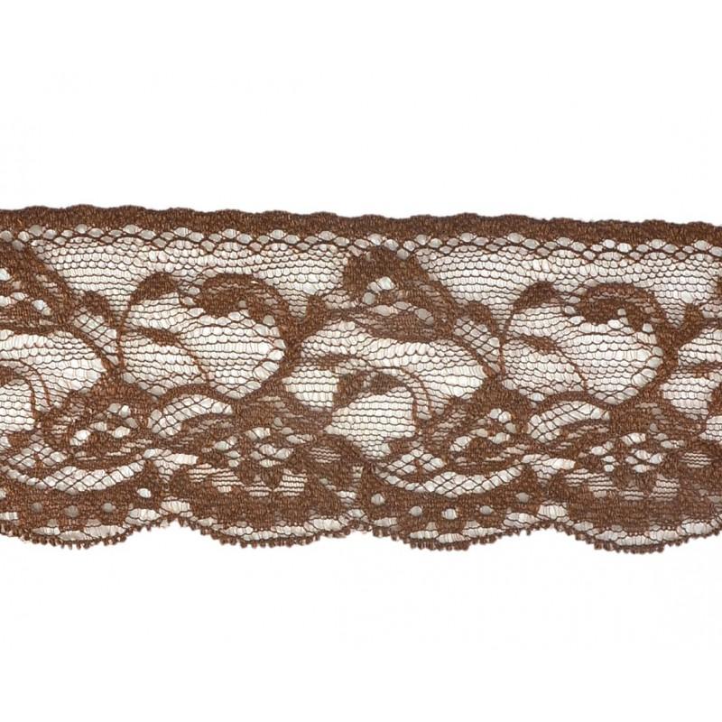 Puntilla nylon marrón 6 cm