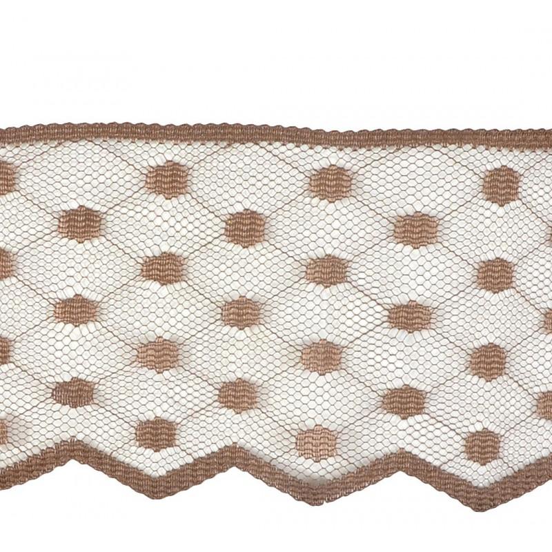 Puntilla nylon marrón 7,5 cm