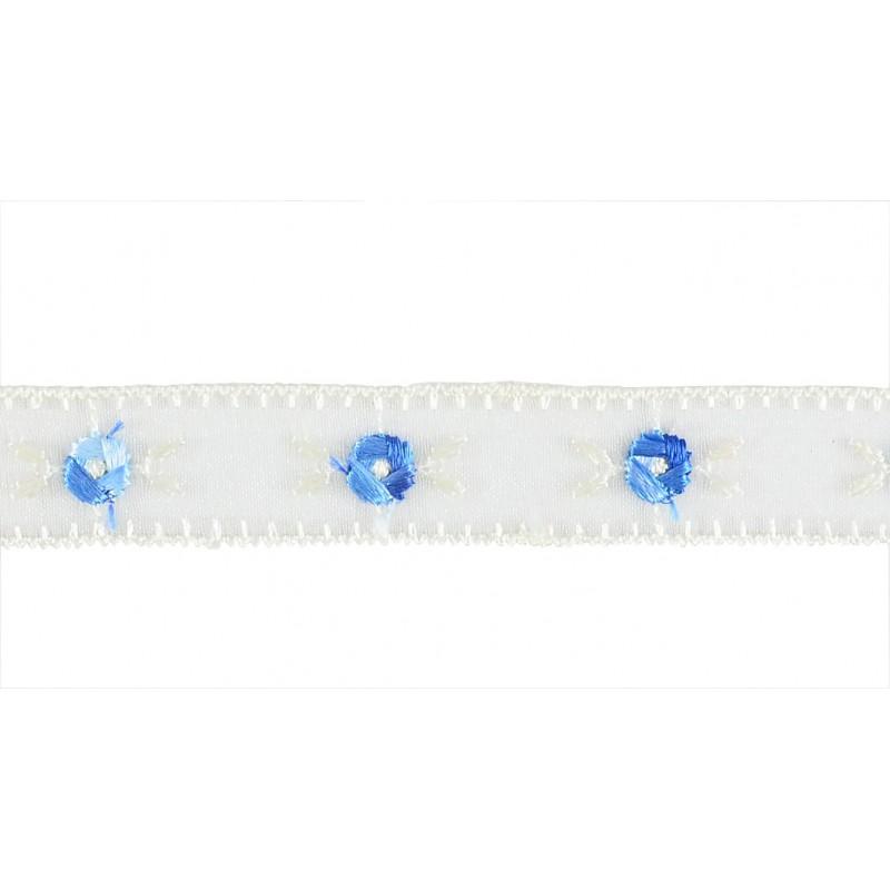 Puntilla cristal azul y beis 1,5 cm