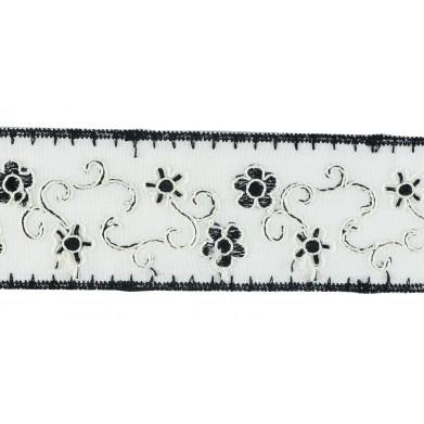 Tira bordada blanco negro 3,6 cm