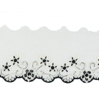 Tira bordada blanco negro 5,5 cm