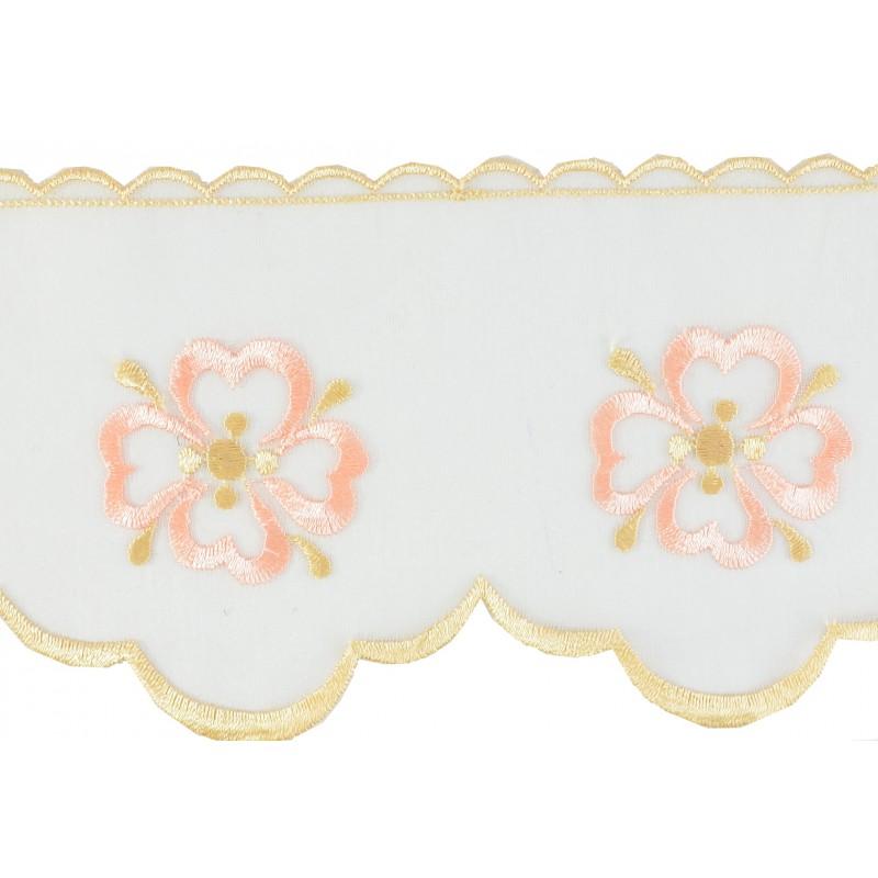 Puntilla cristal blanco/dorado/rosa 9,5 cm