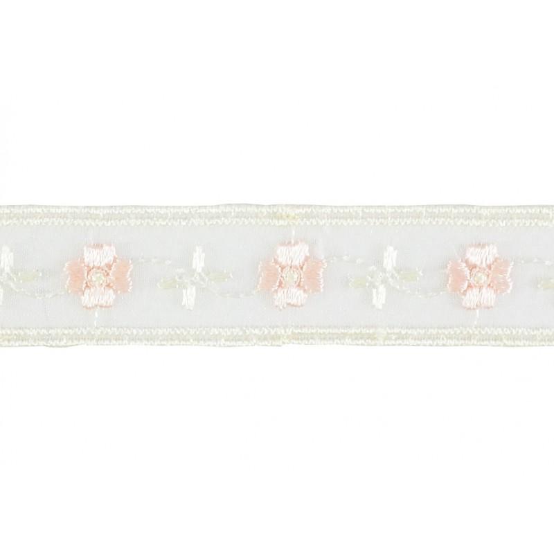 Puntilla cristal blanco/rosa claro 2 cm