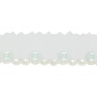 Puntilla cristal blanco/azul claro 3 cm