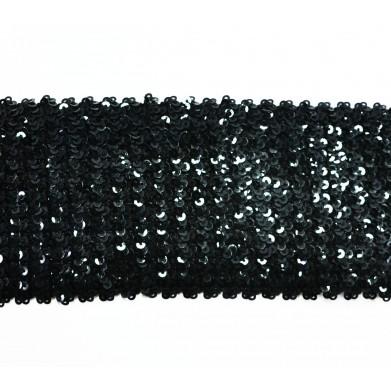 Cinta elástica lentejuelas negra 6 cm