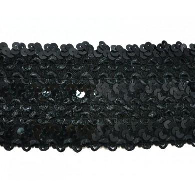 Cinta elástica lentejuelas negra 8 cm