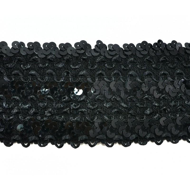 Cinta elástica lentejuelas negra