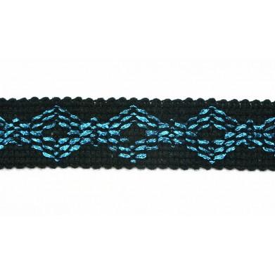 Pasamanería negra y azul 2,5 cm