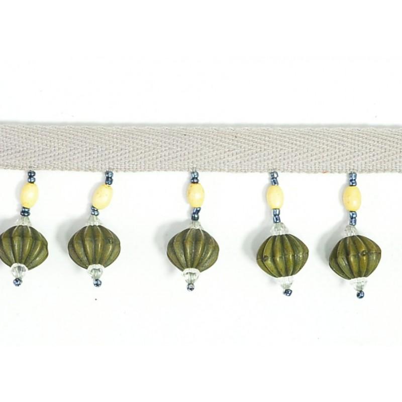 Fleco abalorios verde 4 cm