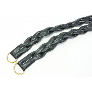 Asas para bolso cuero sintético negro 50 cm
