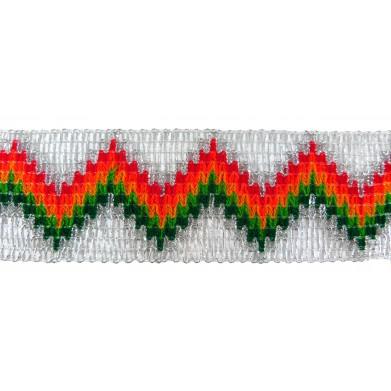 Pasamanería metalizada con hilos de colores