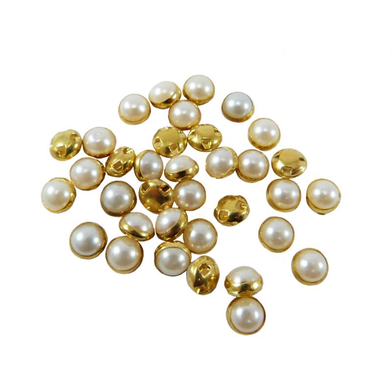 Perlas de coser con base dorada