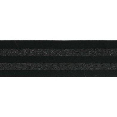 Cinta elástica negra franjas brillantes 40mm