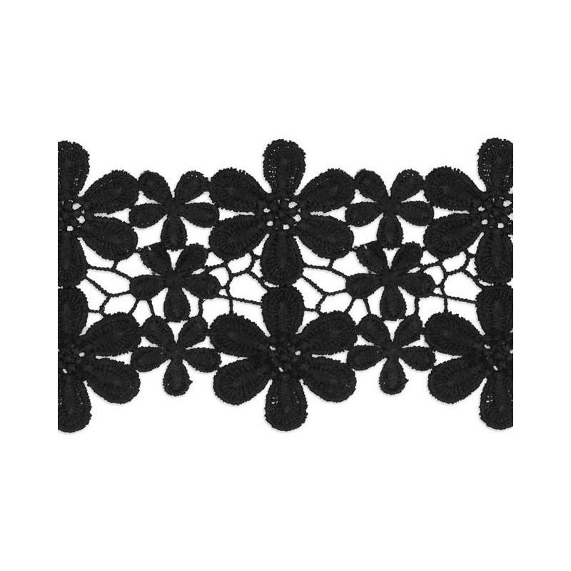 Guipur flores negro