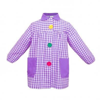 Mandilón cuadros lila botón...