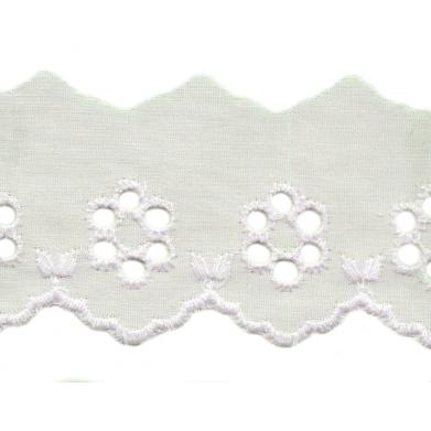Tira bordada flores beige 4 cm