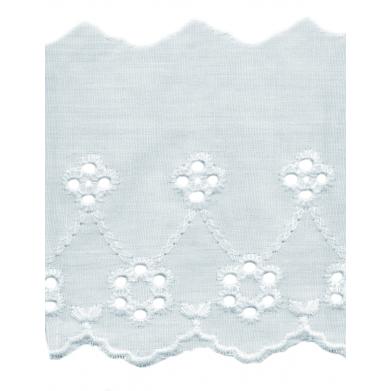 Tira bordada flores blanca 8cm