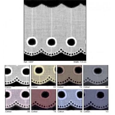 Puntilla batista círculos 7 cm