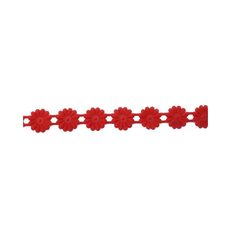 Cinta flores roja (1 cm)