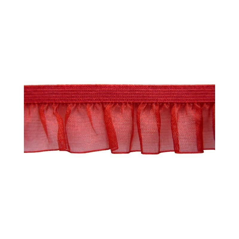 Fruncido elastico de organza rojo