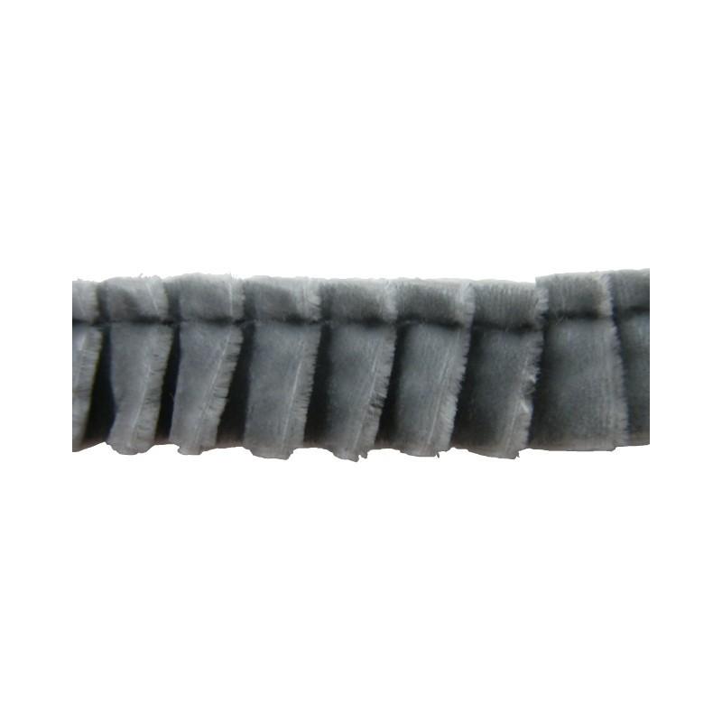 Plisado terciopelo gris 16 mm