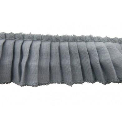 Plisado algodon gris 3 cm