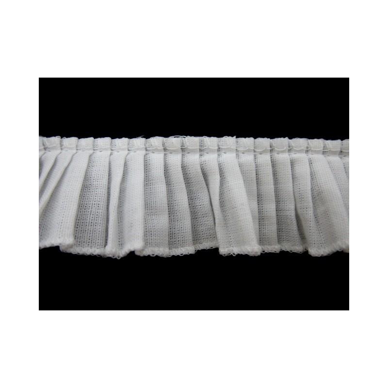 Plisado algodon blanco 3 cm