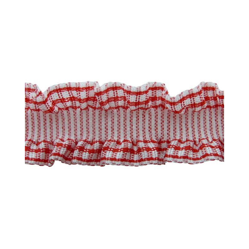 Fruncido vichi rojo 1,5 cm