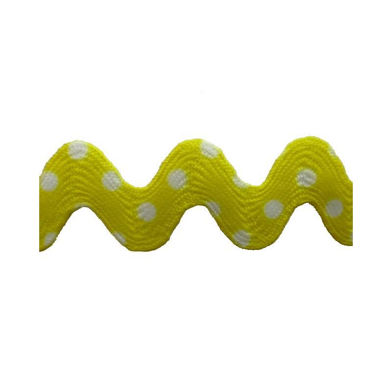 Zig zag lunares amarillo/blanco 1,6 cm