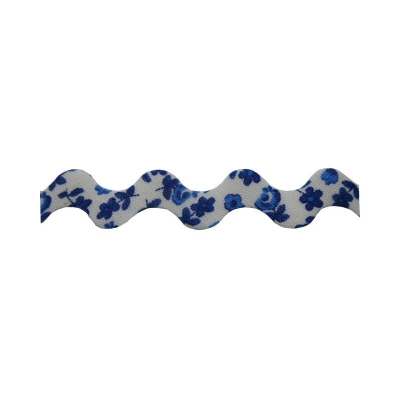 Zig zag flores azul marino 15 mm